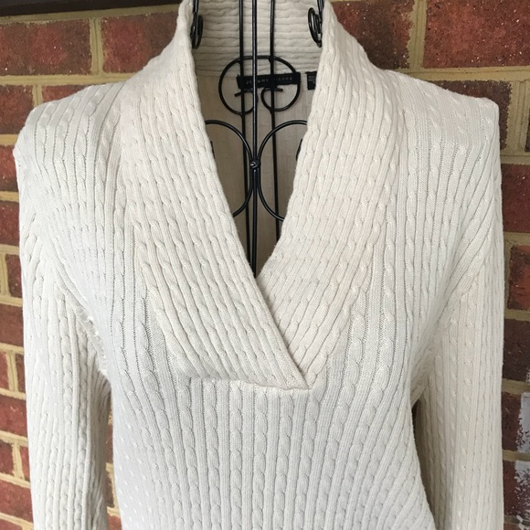 be468226c3f96 JEANNE PIERRE Sweaters - Jeanne Pierre V Neck Cable Knit Sweater Sz Large